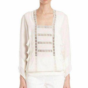 DEREK LAM Lace Trim Long Sleeve Ivory Silk Top